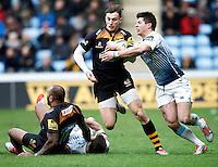 Photo: Richard Lane/Richard Lane Photography. Wasps v Cardiff Blues. LV= Cup. 01/02/2015. Wasps' Josh Bassett attacks.