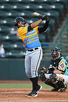 Amado Nunez (18) of Los Rapidos de Kannapolis during a game against Las Llamas de Hickory at L.P. Frans Stadium on July 17, 2019 in Hickory, North Carolina. The Llamas defeated the Rapidos 7-5. (Tracy Proffitt/Four Seam Images)