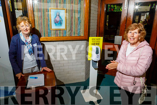 Jenny Prendergast (front right) from Mounthawk and Margaret Culloty attending Mass in St  Brendans Church on Monday morning as Churches reopen for mass