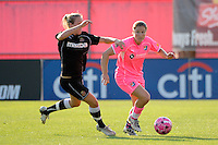 Kendall Fletcher (4) of Sky Blue FC is defended by Gemma Davison (16) of the Western New York Flash.The Western New York Flash defeated Sky Blue FC 2-0 during a Women's Professional Soccer (WPS) match at Yurcak Field in Piscataway, NJ, on July 17, 2011.