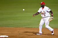 Jermaine Curtis (5) of the Springfield Cardinals tosses a ball to second during a game against the Tulsa Drillers at Hammons Field on July 19, 2011 in Springfield, Missouri. Tulsa defeated Springfield 17-11. (David Welker / Four Seam Images)