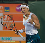March 26 2016: Timea Bacsinszky (SUI) defeats Ana Ivanovic (SRB) by 7-5, 6-4, at the Miami Open being played at Crandon Park Tennis Center in Miami, Key Biscayne, Florida.