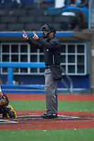 Home plate umpire Caleb Stone indicates a 2-2 count during the South Atlantic Border Battle Futures Game at Truist Point on September 25, 2020 in High Pont, NC. (Brian Westerholt/Four Seam Images)