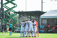 LAKE BUENA VISTA, FL - JULY 9: Philadelphia Union huddle before kickoff during a game between New York City FC and Philadelphia Union at Wide World of Sports on July 9, 2020 in Lake Buena Vista, Florida.