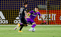 CARSON, CA - SEPTEMBER 06: Brian Rodriguez #17 of LAFC attempts to move past David Bingham #1 GK of the Los Angeles Galaxy during a game between Los Angeles FC and Los Angeles Galaxy at Dignity Health Sports Park on September 06, 2020 in Carson, California.