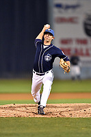 Asheville Tourists pitcher Kenny Oakley (17) delivers a pitch during a game against the Greensboro Grasshoppers at McCormick Field on April 27, 2017 in Asheville, North Carolina. The Tourists defeated the Grasshoppers 8-5. (Tony Farlow/Four Seam Images)