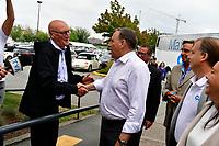 Rejean Leveillee (TVA) et Le chef de la CAQ Francois Legault<br /> en campagne a Laval, le 8 aout 2018.<br /> <br /> PHOTO : Agence Quebec Presse