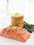 Salmon fillet with asparagus and potato blinis (pancakes)
