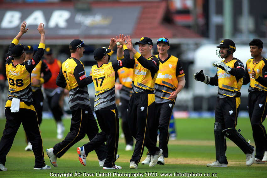 Michael Bracewell congratulates Peter Younghusband on a catch during the Dream11 Super Smash cricket final between the Wellington Firebirds and Auckland Aces at Basin Reserve in Wellington, New Zealand on Sunday, 19 January 2020. Photo: Dave Lintott / lintottphoto.co.nz