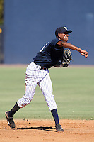 New York Yankees minor league shortstop Chris Tamarez (29) vs. the Pittsburgh Pirates in an Instructional League game at the New York Yankees Minor League Complex in Tampa, Florida;  October 8, 2010.  Photo By Mike Janes/Four Seam Images