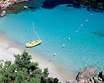 Spanien, Balearen, Ibiza, Portinatx: Badebucht des Clubhotels Portinatx | Spain, Balearic Islands, Ibiza, Portinatx: Bay and Beach of  Clubhotel Portinatx