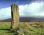 Machrie Moor, Nr Blackwaterfoot, Isle of Arran, North Ayrshire, Scotland. Celtic Britain published by Orion. All that remains of two large stone circles are four huge standing stones on Machrie Moor. Errected during late Neolithic period early Bronze Age.