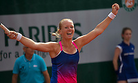 Paris, France, 26 June, 2016, Tennis, Roland Garros, Doubles:  Kiki Bertens (NED) and her partner Johanna Larsson win the first round and Bertens celebrates<br /> Photo: Henk Koster/tennisimages.com