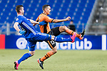Ulsan Hyundai Forward Ivan Kovacec (L) fights for the ball with Brisbane Roar Defender Jade North (R) during the AFC Champions League 2017 Group E match between Ulsan Hyundai FC (KOR) vs Brisbane Roar (AUS) at the Ulsan Munsu Football Stadium on 28 February 2017 in Ulsan, South Korea. Photo by Victor Fraile / Power Sport Images