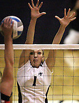 Nevada's Erin Garvey blocks against Seattle University during NCAA women's college volleyball in Reno, Nev., on Thursday, Oct. 20, 2011..Photo by Cathleen Allison