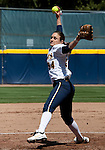 April 15, 2012:  California Bears  pitcher Jolene Henderson in the circle against the Arizona Wildcats during their NCAA softball game played at Levine-Fricke Field on Sunday afternoon in Berkeley, California.  California won the game 6-0.