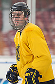 Sean Robertson (Merrimack - 5) -  - The participating teams in Hockey East's first doubleheader during Frozen Fenway practiced on January 3, 2014 at Fenway Park in Boston, Massachusetts.