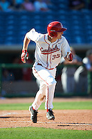 Ball State Cardinals Matt Eppers (35) runs to first base during a game against the Louisville Cardinals on February 19, 2017 at Spectrum Field in Clearwater, Florida.  Louisville defeated Ball State 10-4.  (Mike Janes/Four Seam Images)