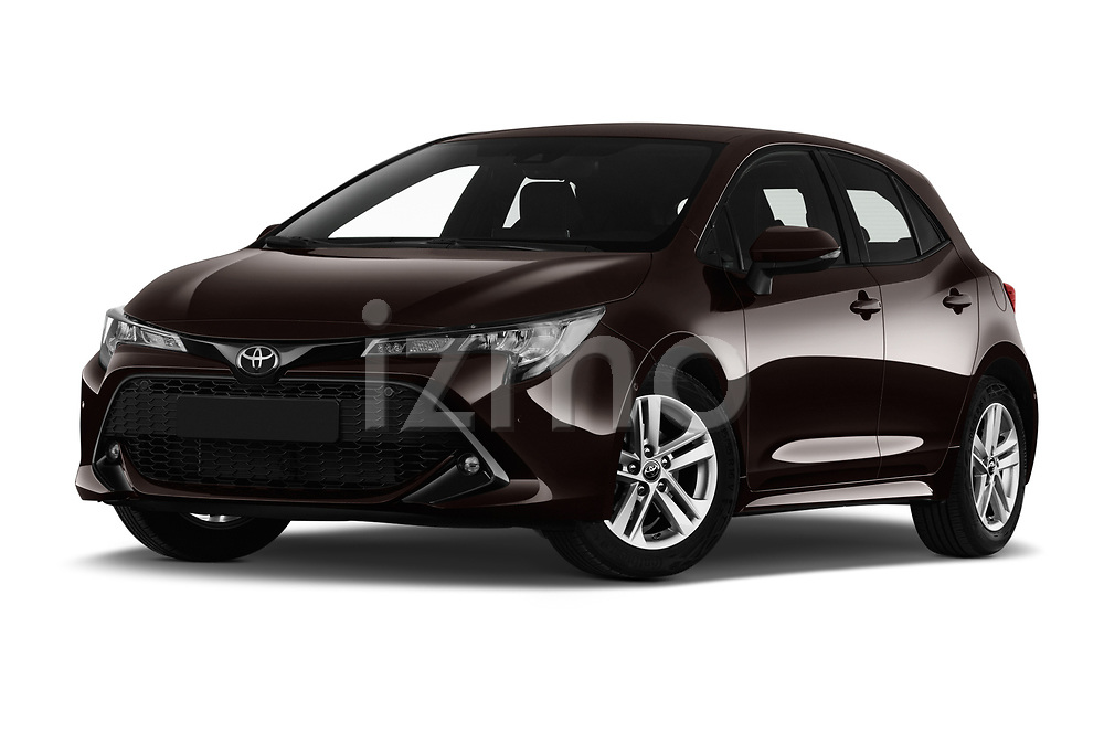 Stock pictures of low aggressive front three quarter view of a 2019 Toyota Corolla Dynamic 5 Door Hatchback