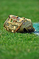 """21 June 2011: Washington Nationals third baseman Ryan Zimmerman's """"gold"""" Rawlings glove lies on the turf during batting practice prior to a game against the Seattle Mariners at Nationals Park in Washington, District of Columbia. The Nationals rallied from a 5-1 deficit, scoring 5 runs in the bottom of the 9th, to defeat the Mariners 6-5 in inter-league play. Mandatory Credit: Ed Wolfstein Photo"""