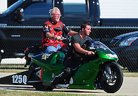 Jul, 9, 2011; Joliet, IL, USA: NHRA pro stock motorcycle rider Stephen Terkowski during qualifying for the Route 66 Nationals at Route 66 Raceway. Mandatory Credit: Mark J. Rebilas-