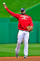 13 April 2009: Washington Nationals' shortstop Cristian Guzman warms up prior to facing the Philadelphia Phillies at the Nats' Home Opener at Nationals Park in Washington, DC. The Nats fell short in their 9th inning rally, losing 9-8, and marking their 7th consecutive loss of the season. Mandatory Credit: Ed Wolfstein Photo