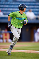 Lynchburg Hillcats shortstop Luke Wakamatsu (12) running to first base during a game against the Salem Red Sox on May 10, 2018 at Haley Toyota Field in Salem, Virginia.  Lynchburg defeated Salem 11-5.  (Mike Janes/Four Seam Images)