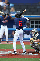 Dalen Thompson (6) of Triton High School (NC) playing for the Atlanta Braves scout team during game two of the South Atlantic Border Battle at Truist Point on September 26, 2020 in High Pont, NC. (Brian Westerholt/Four Seam Images)