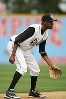 April 27 2007: P.J.Phillips of the Rancho Cucamonga Quakes in the field against the Stockton Ports at The Epicenter in Rancho Cucamonga,CA.  Photo by Larry Goren/Four Seam Images
