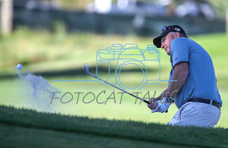 University of South Carolina Head Football Coach Steve Spurrier plays in the final round of the American Century Championship at Edgewood Tahoe Golf Course in Stateline, Nev., on Sunday, July 19, 2015. <br /> Photo by Cathleen Allison