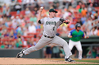 Starting pitcher Samuel Coonrod (12) of the Augusta GreenJackets delivers a pitch in a game against the Greenville Drive on Sunday, April 12, 2015, at Fluor Field at the West End in Greenville, South Carolina. Augusta won, 2-1. (Tom Priddy/Four Seam Images)