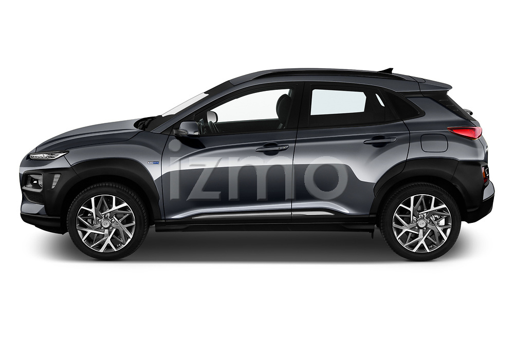 Car driver side profile view of a 2020 Hyundai Kona Hybrid Sky 5 Door SUV