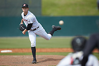 Kannapolis Intimidators starting pitcher John Parke (27) delivers a pitch to the plate against the Lakewood BlueClaws at Kannapolis Intimidators Stadium on April 8, 2018 in Kannapolis, North Carolina.  The Intimidators defeated the BlueClaws 5-1 in game one of a double-header.  (Brian Westerholt/Four Seam Images)