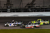 #4: Todd Gilliland, Kyle Busch Motorsports, Toyota Tundra Mobil 1, #18: Harrison Burton, Kyle Busch Motorsports, Toyota Tundra Safelite AutoGlass, #88: Matt Crafton, ThorSport Racing, Ford F-150 Ideal Door/Menards
