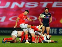 10th October 2020; Thomond Park, Limerick, Munster, Ireland; Guinness Pro 14 Rugby, Munster versus Edinburgh; Conor Murray of Munster kicks the ball clear