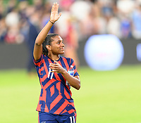 AUSTIN, TX - JUNE 16: Catarina Macario #11 of the United States waves to the fans after a game between Nigeria and USWNT at Q2 Stadium on June 16, 2021 in Austin, Texas.