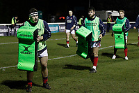 London Scottish players on the pads during the Greene King IPA Championship match between London Scottish Football Club and Nottingham Rugby at Richmond Athletic Ground, Richmond, United Kingdom on 7 February 2020. Photo by Carlton Myrie.