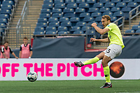 FOXBOROUGH, MA - MAY 12: Daltyn Knutson #13 of Union Omaha passes the ball during a game between Union Omaha and New England Revolution II at Gillette Stadium on May 12, 2021 in Foxborough, Massachusetts.