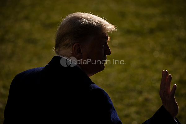United States President Donald J. Trump makes a statement to the gathered press as he departs the White House in Washington, D.C., U.S., on Tuesday, Jan. 12, 2021. The President is heading to Alamo, Texas today to visit the border wall between the United States and Mexico. This is the Presidents first appearance following the insurrection at the U.S. Capitol by his followers last week. <br /> Credit: Samuel Corum / Pool via CNP /MediaPunch