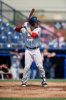 Portland Sea Dogs catcher Austin Rei (28) at bat during the first game of a doubleheader against the Reading Fightin Phils on May 15, 2018 at FirstEnergy Stadium in Reading, Pennsylvania.  Portland defeated Reading 8-4.  (Mike Janes/Four Seam Images)