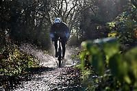 Rob Warner  riding Vitus Gravel Bike through puddle / watersplash , near Holyport . Berkshire , December 2020.