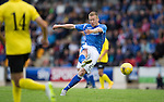 St Johnstone v Alashkert FC...09.07.15   UEFA Europa League Qualifier 2nd Leg<br /> Scott Brown's volley is saved by the keeper<br /> Picture by Graeme Hart.<br /> Copyright Perthshire Picture Agency<br /> Tel: 01738 623350  Mobile: 07990 594431
