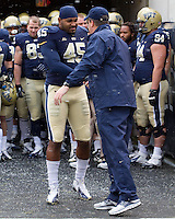 Pitt head coach Paul Chryst and senior defensive lineman Shayne Hale. The Pitt Panthers defeat the Rutgers Scarlet Knights 27-6 on Saturday, November 24, 2012 at Heinz Field , Pittsburgh, PA.