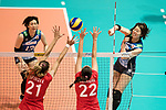 Wing spiker Mami Uchiseto (R) of Japan spikes the ball during the FIVB Volleyball World Grand Prix match between Japan vs Russia on 23 July 2017 in Hong Kong, China. Photo by Marcio Rodrigo Machado / Power Sport Images