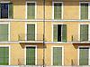Facade with many green wood slatted shutters<br /> <br /> Fachada con muchas persianas verdes<br /> <br /> Fassade mit vielen grünen Fensterläden<br /> <br /> 2312 x 1703 px