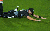 NZ captain Tim Southee fields during the second International T20 cricket match between the New Zealand Black Caps and Bangladesh at McLean Park in Napier, New Zealand on Tuesday, 30 March 2021. Photo: Dave Lintott / lintottphoto.co.nz