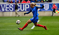 Harrison, N.J. - Sunday March 04, 2018: Eugénie Le Sommer scores and celebrates her goal Eugénie Le Sommer scores and celebrates her goal during a 2018 SheBelieves Cup match between the women's national teams of the United States (USA) and France (FRA) at Red Bull Arena.