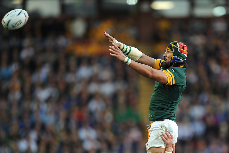 Victor Matfield of South Africa wins a lineout during Match 15 of the Rugby World Cup 2015 between South Africa and Samoa - 26/09/2015 - Villa Park, Birmingham<br /> Mandatory Credit: Rob Munro/Stewart Communications