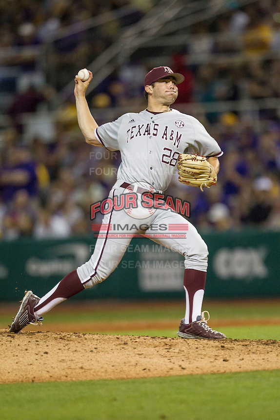 Texas A&M Aggies pitcher Mark Ecker (28) delivers a pitch to the plate during a Southeastern Conference baseball game against the LSU Tigers on April 24, 2015 at Alex Box Stadium in Baton Rouge, Louisiana. LSU defeated Texas A&M 9-6. (Andrew Woolley/Four Seam Images)