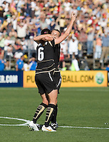 Tiffany Milbrett celebrates her winning goal with Brandi Chastain (6). FC Gold Pride defeated the Boston Breakers 2-1 at Buck Shaw Stadium in Santa Clara, California on April 5th, 2009. Photo by Kelley Cox /isiphotos.com